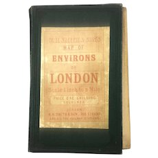WH Smith & Sons London & Environs Map Victorian Antique c1900