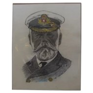 Pencil Sketch Of E J Smith Captain Of The Titanic Late 20th Century.