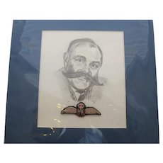 Pencil Sketch Plus RAF Wings Of Comedian Jimmy Edwards Late 20th Century.