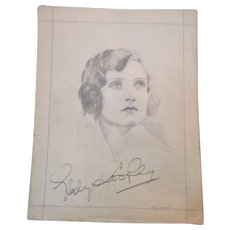 Pencil Portrait & Autograph of Actress Gladys Cooper Vintage c 1930s.