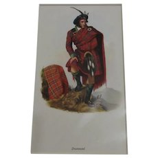 Scottish Illustration Print Drummond Clan Vintage Clan c.1959.