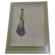 French Print Of Woman Titled Asenath By Edmund Dulac Vintage c.1915.