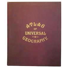 Victorian 'Atlas of Universal Geography' Reference Map Book c1890.
