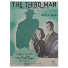 Original Sheet Music 'The Third Man' Theme By Anton Karas Vintage 1948.