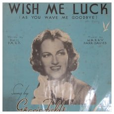Original Sheet Music 'Wish Me Luck' From Film Shipyard Sally Vintage 1939.
