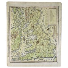 Map of Britain Sebastian Munster 'Cosmographia' Antique 1592 Edition