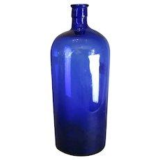 Large Blue Glass Chemist Apothecary Bottle Antique c1900