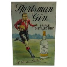 Sportsman Gin Rugby Pub Showcard for Counter Bar Vintage Art Deco