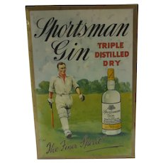 Sportsman Gin Cricket Pub Showcard for Counter Bar Vintage Art Deco