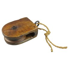 Wooden Pulley Block Vintage c1940