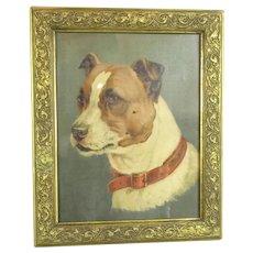 Framed Oleograph Print of a Dog Vintage c1930