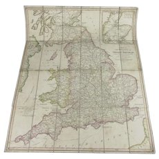 Folding Map of the Roads of Great Britain by W Faden Antique c1824