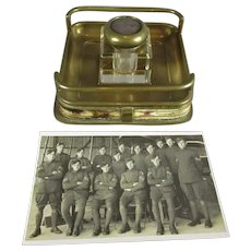 WW1 Royal Flying Corps Inkstand and Group Photograph Antique c1916