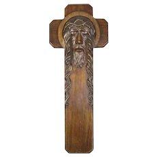 Hand Carved Hanging Cross Vintage c1950