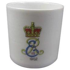 Commemorative Edward VII Coronation Lithophane Mug Antique c1902