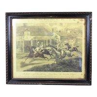 Framed '1st Steeple Chase on Record' Print Henry Alken Antique c1939