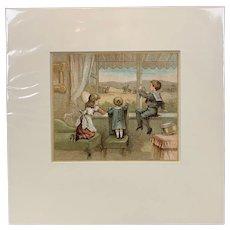 Original Print Titled A Soldier's Children Antique c1882.