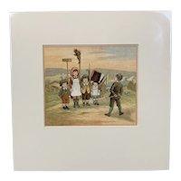 Original Print Titled A Soldier's Children Antique Victorian c1882.