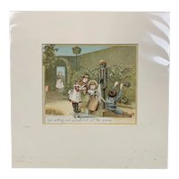 Original Chrome Lithography Print Titled Our Garden Antique Victorian c1882.
