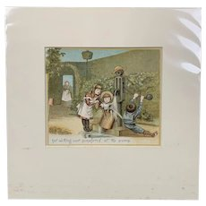 Original Chrome Lithography Print Titled Our Garden Antique Victorian c1882.