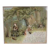 Original Chrome Lithography Print Titled Our Garden Victorian Antique c1882.