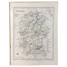 Creighton's Wiltshire Map Antique Early Victorian c1846