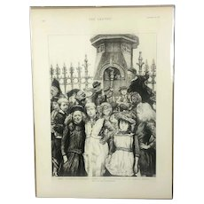 The Graphic Children Drinking At Fountain Print Victorian Antique c1891