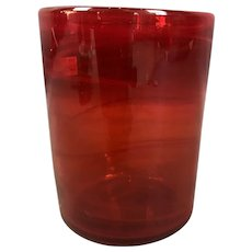 Ruby Red Art Glass Swirl Vase Pontil Marks Vintage c1960