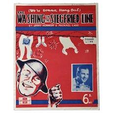 WW2 Sheet Music 'Washing on the Siegfried Line' Vintage c1939