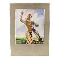 Golf Print Title On The Fairway Vintage Art Deco 1930