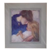 Mother And Child Print By Hippolite Dayk Antique Art Deco 1915