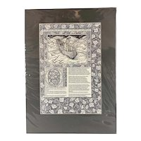 Reproduction Arts And Craft Print of A Page from William Morris Kelmescot Press Vintage c1970
