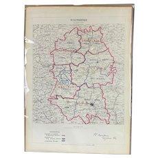 Map of Wiltshire By Lt Robert Owen Royal Engineers Antique Victorian c1885