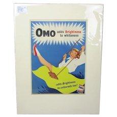 Omo Washing Powder Advertisement Print Vintage c1956