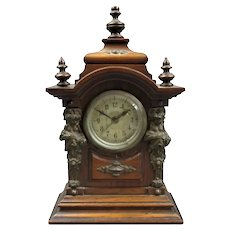 Small Continental Wood & Brass Clock Antique c1890