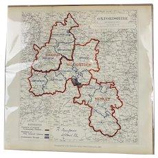 Map of Oxfordshire By Lt Robert Owen Jones Royal Engineers Antique Victorian c1885