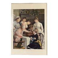 Original Print Titled Stirring The Christmas Pudding Antique Victorian 1881