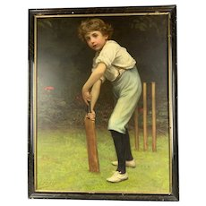 Original Wooden Frame Print Titled The Young Cricketer Antique Victorian 1898