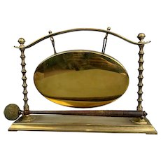 Brass Table Gong With Stick Made Of Oak Antique Victorian c1890