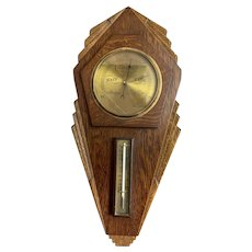 Wall Mounted Barometer Thermometer Vintage Art Deco c1930