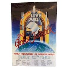 Original Live Aid Concert Poster July 1985 Vintage