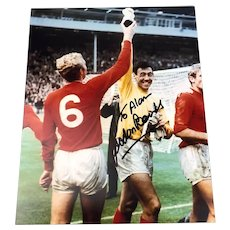 Gordon Banks Signed Autographed Colour Photo with Bobby Moore World Cup Final Vintage 1966