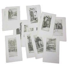 Full set Of 24 Prints Of Drawings Of Edinburgh Antique Edwardian 1910