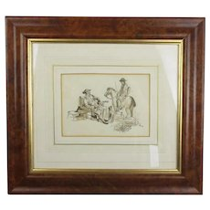 William H Payne Ink And Wash Drawing Antique Georgian c1800