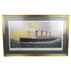 The Titanic, Cherbourg Bound Print By Simon Fisher & Millvina Dean Vintage Late 20th Century