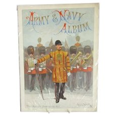 Army & Navy Photo Album Page Cover ( Drum Major Of The Guards In State Robe ) Illustrated By R.Caton Woodville Antique Victorian c1890