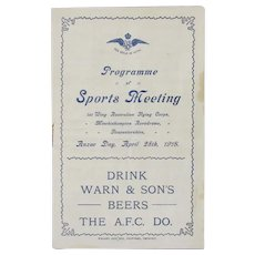 WW1 Australian Flying Corps Sports Programme Antique c1918