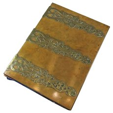 Gothic Brass & Walnut Document Writing Folder Antique c1860