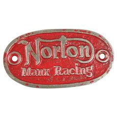 Cast Iron Norton Motorcycle Badge Plaque ( Norton, Manx Racing ) Vintage c1950
