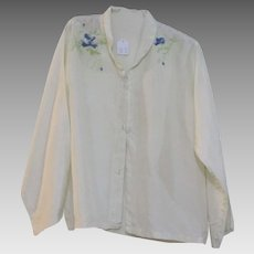 French Embroidered Cream Silk Blouse Vintage C. 1980s